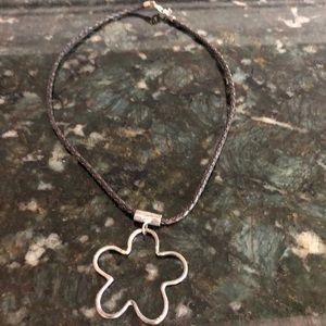 Silpada leather & silver flower necklace